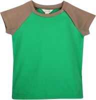Apricot Kids Boys Solid Cotton T Shirt(Green, Pack of 1)