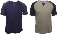 Poshuis Solid Men Round Neck Dark Blue, Green T-Shirt(Pack of 2)