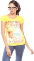 Trendy Girlz Printed Womens Round Neck Yellow T-Shirt