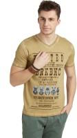 Breakbounce Printed Men's V-neck Brown T-Shirt