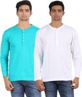 Arowana Solid Men's Henley Blue, White T-Shirt(Pack of 2)