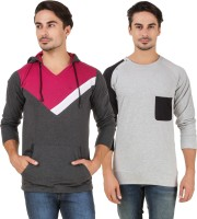 Aurelio Marco Solid Men V-neck Multicolor T-Shirt(Pack of 2)