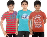 Menthol Boys Printed T Shirt(Multicolor, Pack of 3)