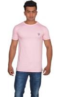 DoubleF Solid Men's Round Neck Pink T-Shirt