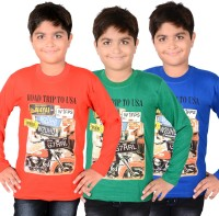 Aedi Boys Solid T Shirt(Multicolor, Pack of 3)