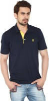 Ruse Solid Mens Polo Neck Dark Blue T-Shirt