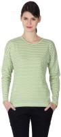 Hypernation Striped Women's Round Neck Green, White T-Shirt