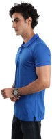 Inkovy Solid Mens Polo Neck Blue T-Shirt