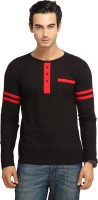 Fio Solid Mens Round Neck Black, Red T-Shirt