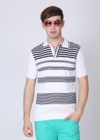 Van Heusen Striped Mens Polo Neck Black, White T-Shirt