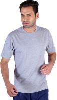 Humbert Solid Mens Round Neck Grey T-Shirt