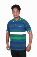Norwood Striped Mens Polo Neck Green, Blue, White T-Shirt