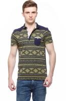 Fasnoya Printed Men's Polo Neck Green T-Shirt