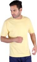 Humbert Solid Mens Round Neck Yellow T-Shirt