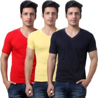 TeeMoods Solid Mens V-neck Red, Yellow, Dark Blue T-Shirt(Pack of 3)
