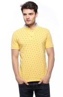 Fasnoya Printed Men's Mandarin Collar Yellow T-Shirt