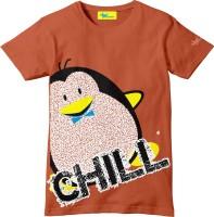 Grasshopr Boys Graphic Print Cotton T Shirt(Orange, Pack of 1)