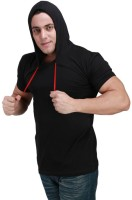 Inkovy Solid Mens Hooded Black T-Shirt
