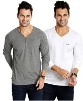 Rodid Solid Men's V-neck Grey, White T-Shirt(Pack of 2)