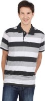 Allen Solly Striped Men Polo Neck White, Grey T-Shirt