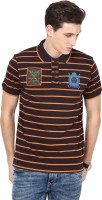 Okane Self Design Men Polo Neck Brown T-Shirt