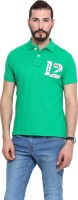 Camino Solid Mens Polo Neck Green T-Shirt