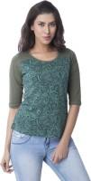 Cult Fiction Paisley Womens Scoop Neck Green T-Shirt