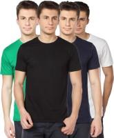 TOMO Solid Mens Round Neck Black, Green, Dark Blue, White T-Shirt(Pack of 4)
