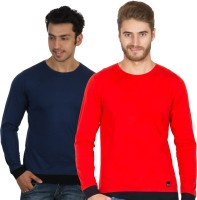 Rigo Solid Men's Round Neck Blue, Red T-Shirt(Pack of 2)