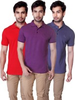 LUCfashion Solid Mens Polo Neck Red, Purple, Light Blue T-Shirt(Pack of 3)