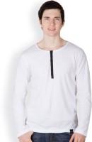 Rigo Solid Men's Henley White T-Shirt
