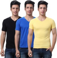 TeeMoods Solid Mens V-neck Black, Blue, Yellow T-Shirt(Pack of 3)