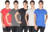 Ap'pulse Solid Women's Henley Black, Blue, Grey, Red, Grey T-Shirt(Pack of 5)