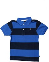 Nautica Boys Striped Cotton T Shirt(Blue, Pack of 1)
