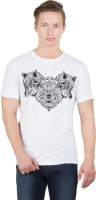 Hypernation Printed Men's Round Neck White, Black T-Shirt