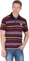 Wilkins & Tuscany Striped Mens Polo Neck Maroon T-Shirt