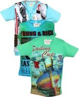 Tonyboy Boys Graphic Print Cotton T Shirt(Multicolor, Pack of 3)