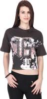 Alibi Printed Womens Round Neck Grey T-Shirt