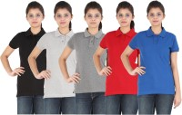 Appulse Solid Womens Polo Neck Black, Blue, Grey, Red, Grey T-Shirt(Pack of 5)