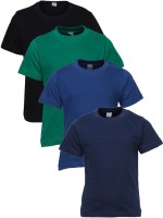 Gkidz Boys Solid T Shirt(Multicolor, Pack of 4)