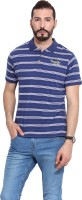 Camino Striped Mens Polo Neck Blue T-Shirt