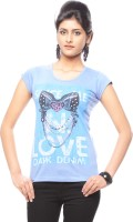 Trendy Girlz Graphic Print Women's Round Neck Purple T-Shirt