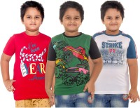 Menthol Boys Printed Cotton T Shirt(Multicolor, Pack of 3)