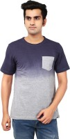 Ruse Solid Mens Round Neck Blue, Grey T-Shirt