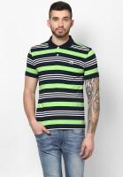 Ajile by Pantaloons Striped Men's Polo Neck Light Green T-Shirt