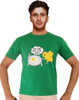 Clickroo Printed Men's Round Neck Green T-Shirt