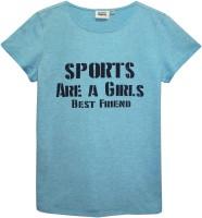 Abstract Mood Girls Printed T Shirt(Blue)