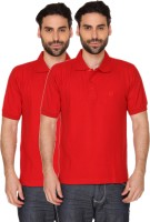 Blacksmith Solid Men's Polo Neck Red T-Shirt(Pack of 2)