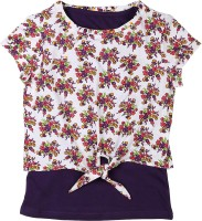 Poppers by Pantaloons Girls Floral Print T Shirt(Purple)