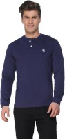The Cotton Company Solid Men Henley Dark Blue T-Shirt